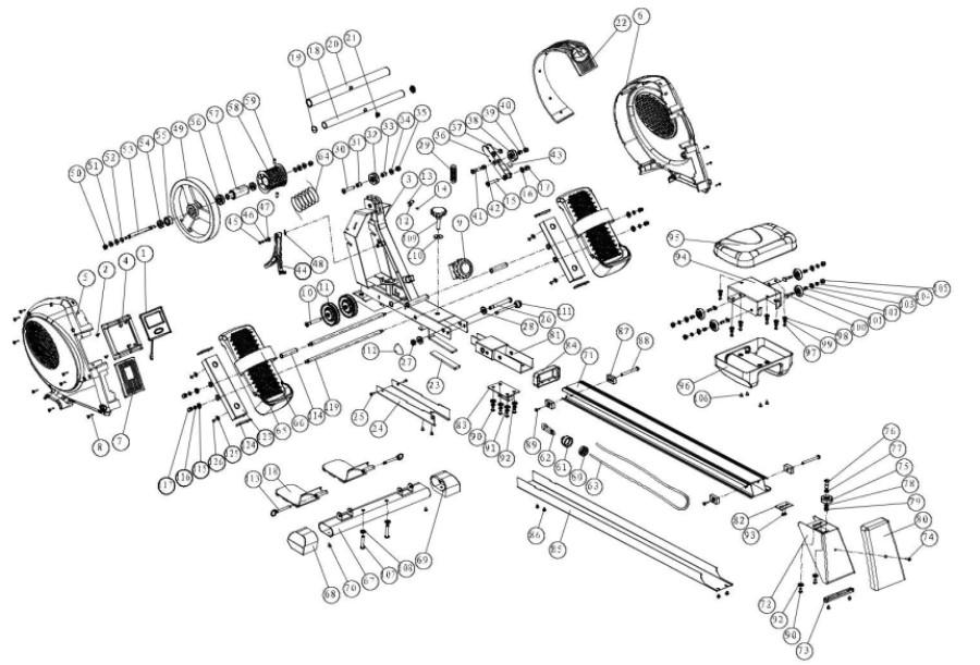 Applegate R10 M - схема гребного тренажера